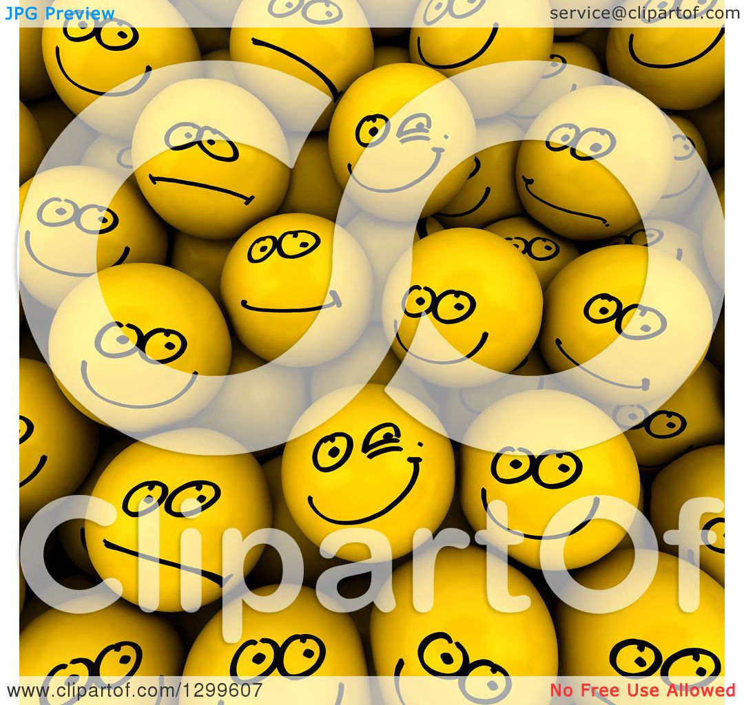 Clipart of a background of 3d yellow smiley face balls with clipart of a background of 3d yellow smiley face balls with different expressions drawn on royalty free illustration by frank boston voltagebd Image collections