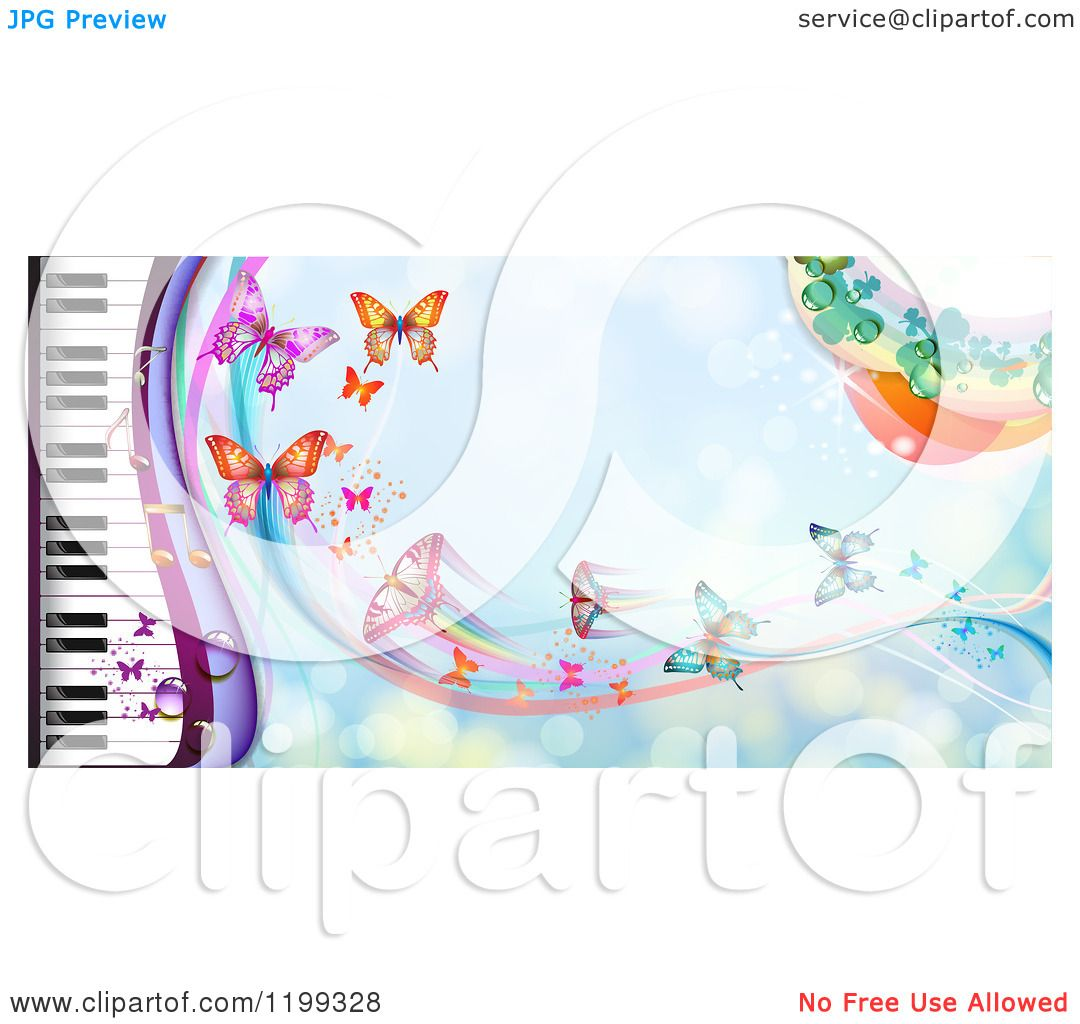Clipart of a Background of Butterflies over Blue with a ...