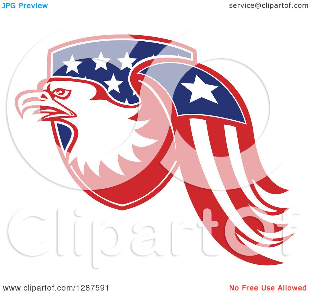 Clipart Of A Bald Eagle And American Flag Emerging From A Shield