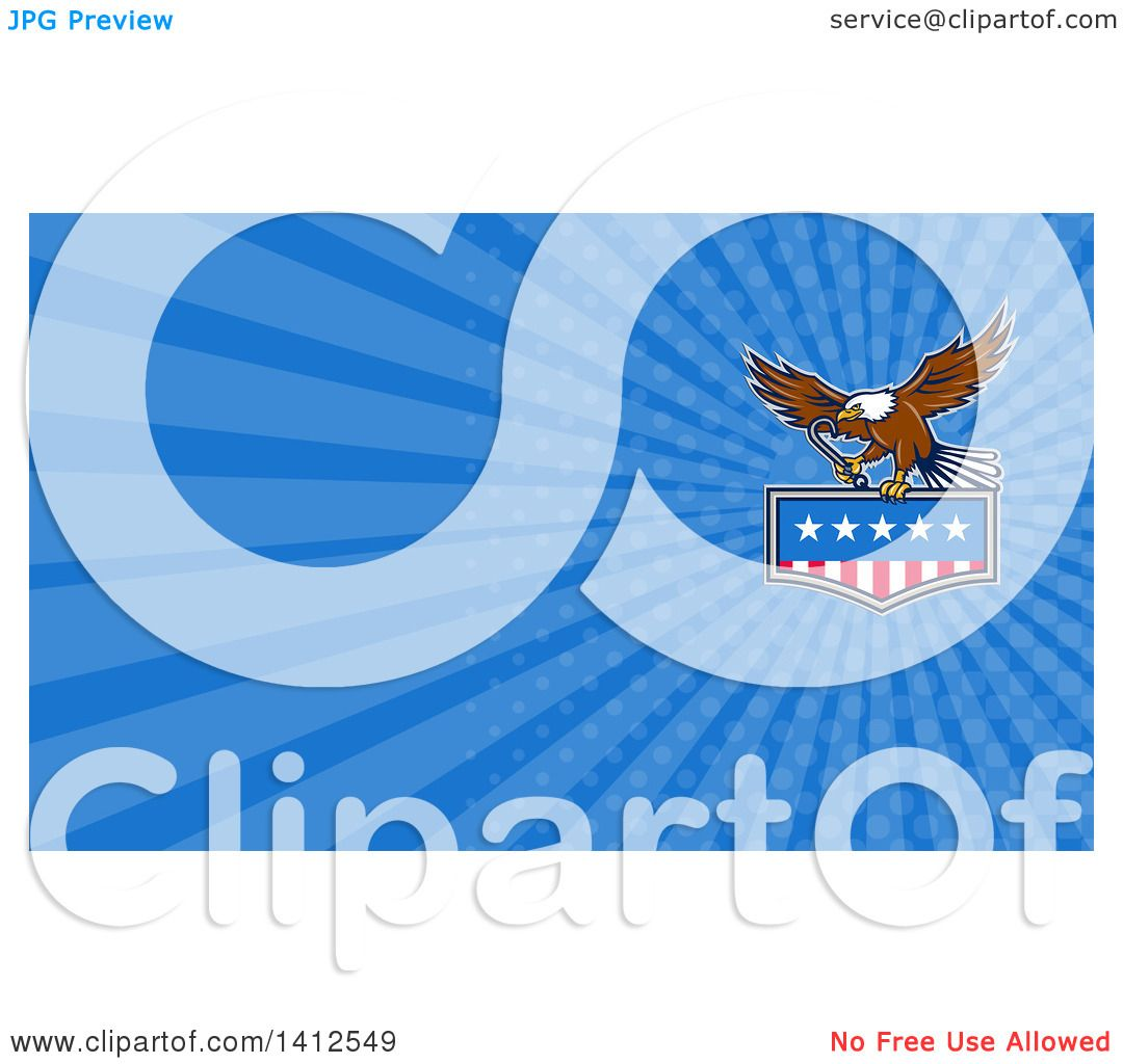 Clipart of a Bald Eagle Flying with an American Flag and Towing J ...