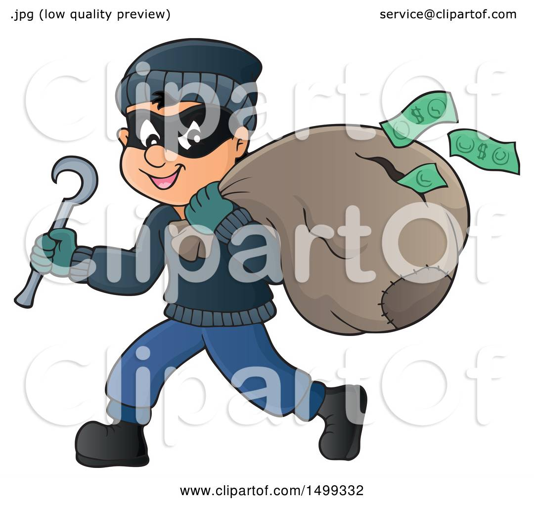 88ac0216a4a Clipart of a Bank Robber Running with a Torn Sack Dropping Money - Royalty  Free Vector