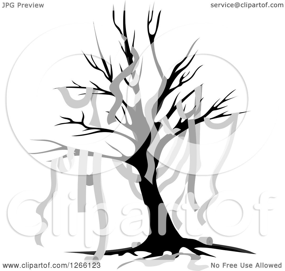 Royalty Free Toilet Clip Art Vector Images: Clipart Of A Bare Tree Draped In Toilet Paper