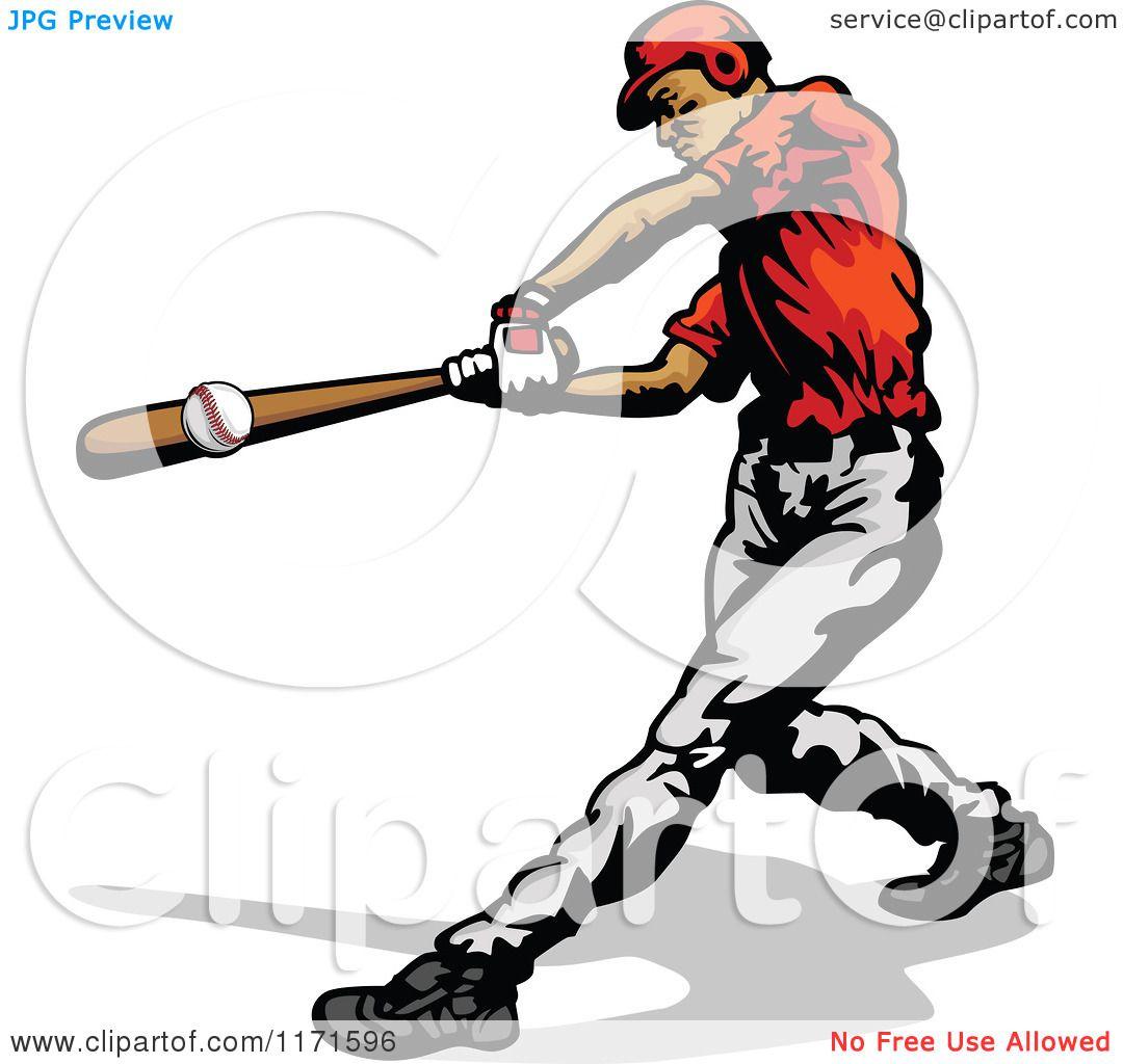 clipart of a baseball batter hitting a ball royalty free vector rh clipartof com