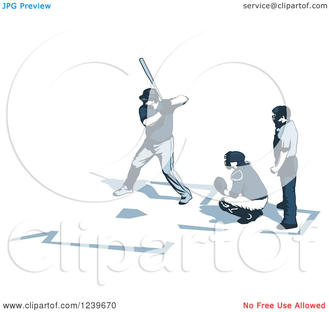 Clipart of a Baseball Umpire Catcher and Batter - Royalty Free ...