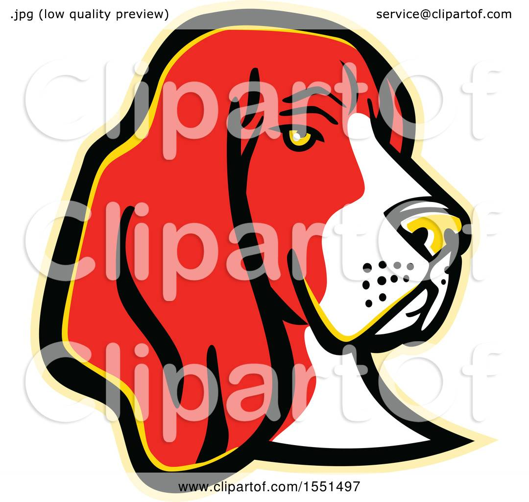 Clipart of a Basset Hound Dog Mascot Head - Royalty Free Vector ...