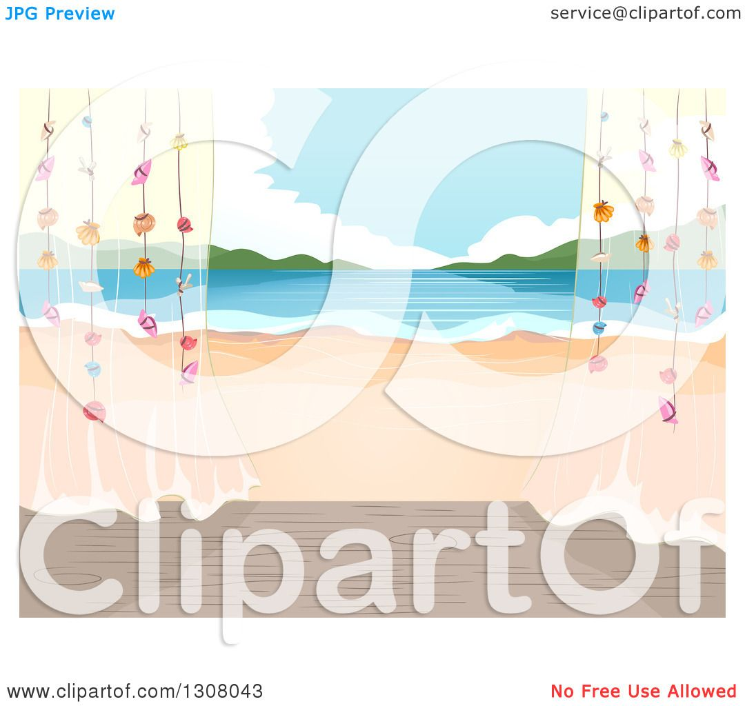 Clipart Of A Beach Cottage Porch With Sheer Curtains And A View