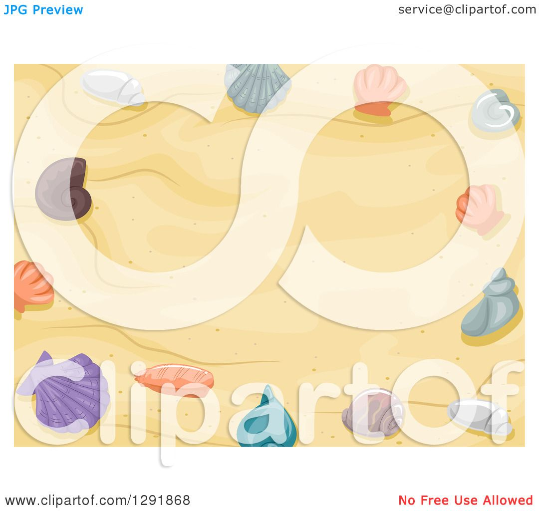 Clipart Of A Beach Sand Background With Border Sea Shells