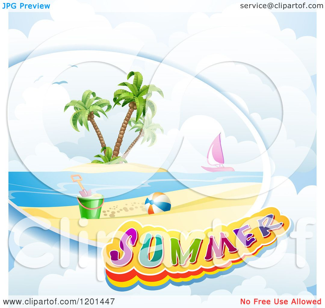 Clipart of a Beach Scene Sail Boat and Summer Text over Clouds ...