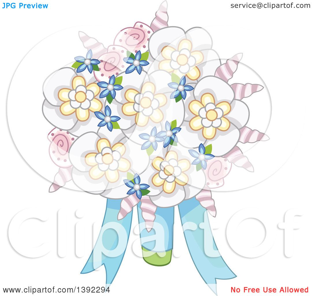 Clipart of a Beach Wedding Themed Flower Bouquet with Shells ...