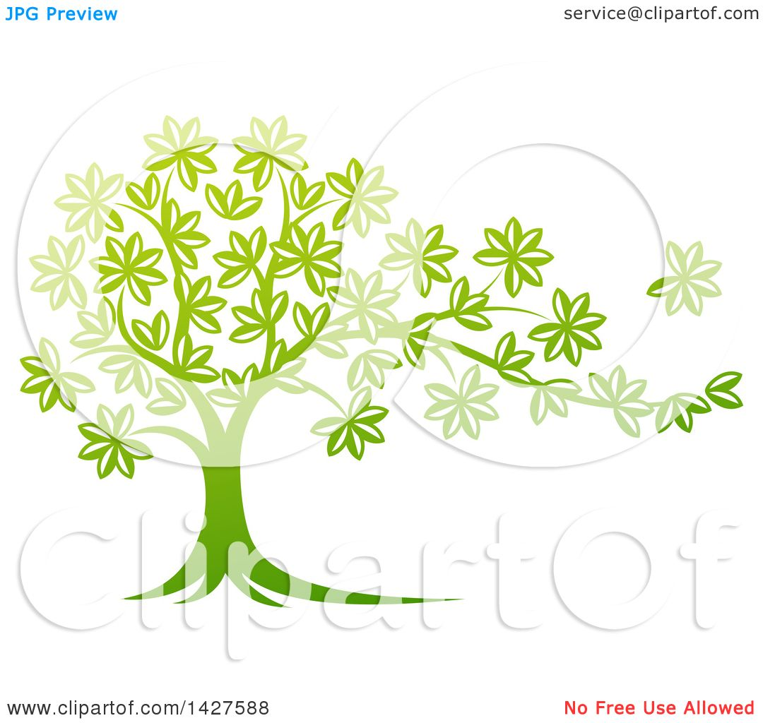 Clipart of a Beautiful Gradient Green Tree with a Leaf Flying Away ...