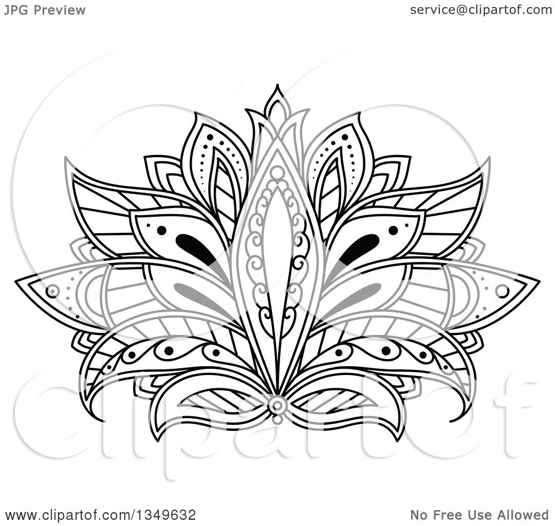 Clipart Of A Beautiful Ornate Black And White Henna Lotus Flower
