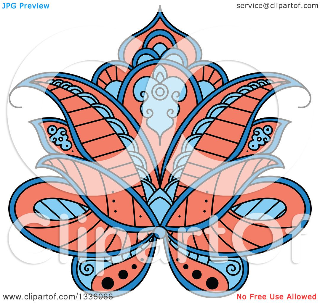 clipart of a beautiful salmon pink and blue henna lotus flower rh clipartof com Henna Tattoo Henna Tattoo