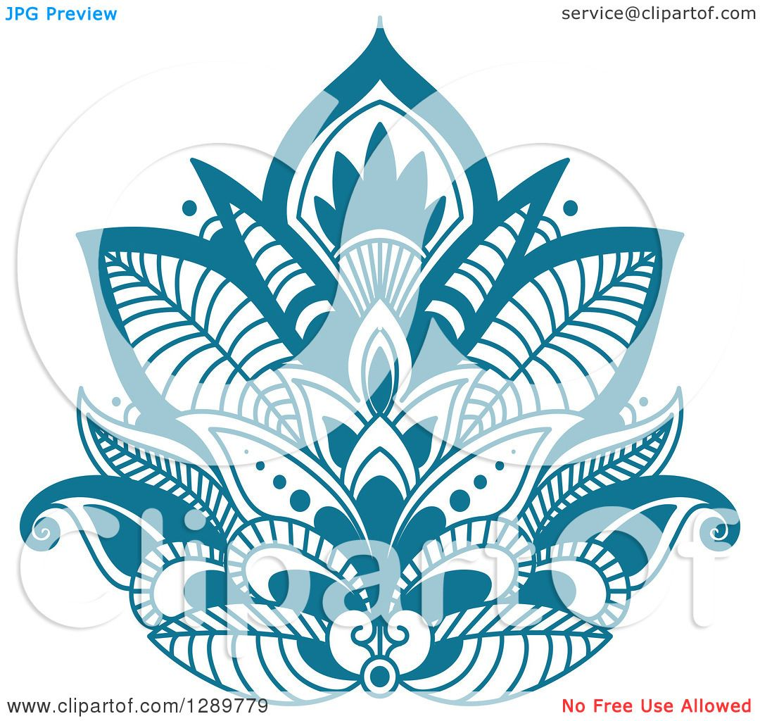 Clipart of a Beautiful Teal Henna Lotus Flower 4 - Royalty ...