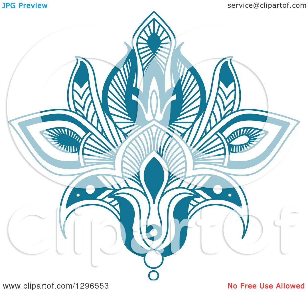 Clipart Of A Beautiful Teal Henna Lotus Flower 7 Royalty Free