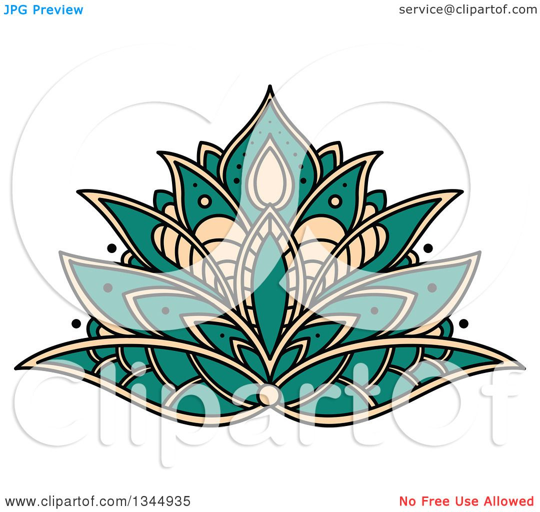 clipart of a beautiful turquoise and tan henna lotus flower rh clipartof com Henna Drawings Designs Henna Background