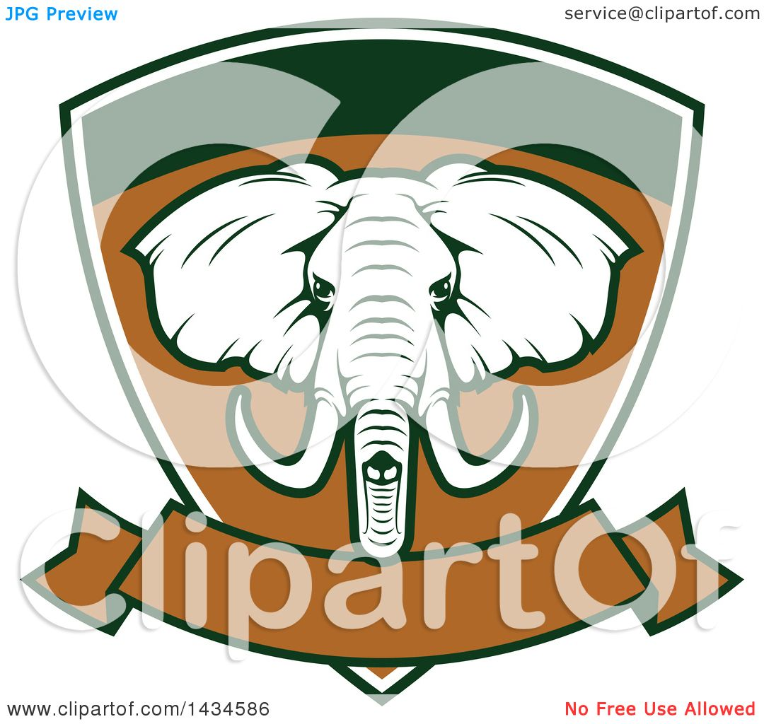 Clipart of a big game elephant safari hunting shield with a banner clipart of a big game elephant safari hunting shield with a banner royalty free vector illustration by vector tradition sm buycottarizona Images