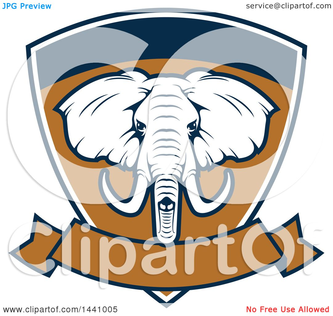 clipart of a big game elephant safari hunting shield with a banner rh clipartof com