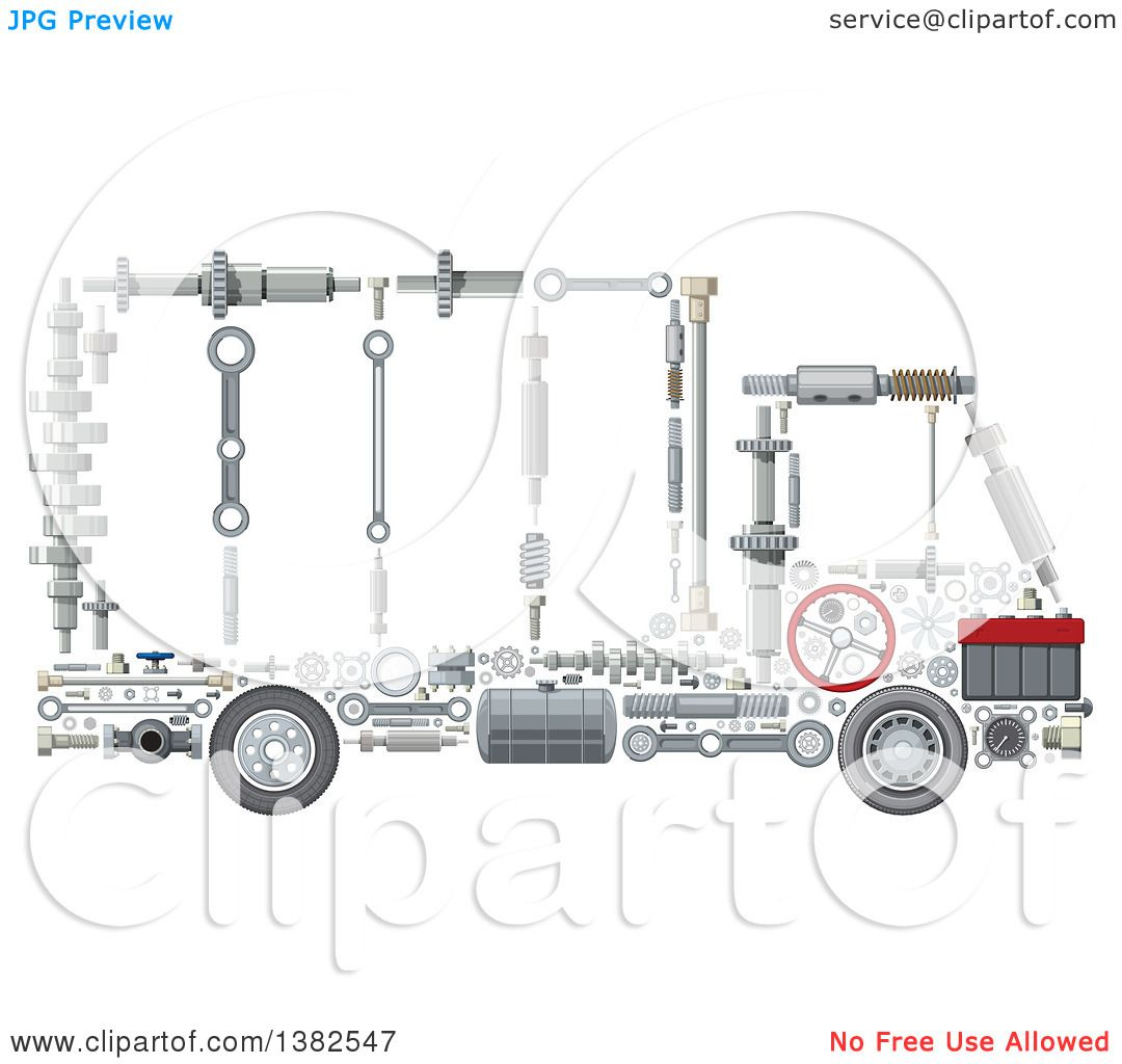 Clipart Of A Big Rig Lorry Truck Made Of Mechanical Parts