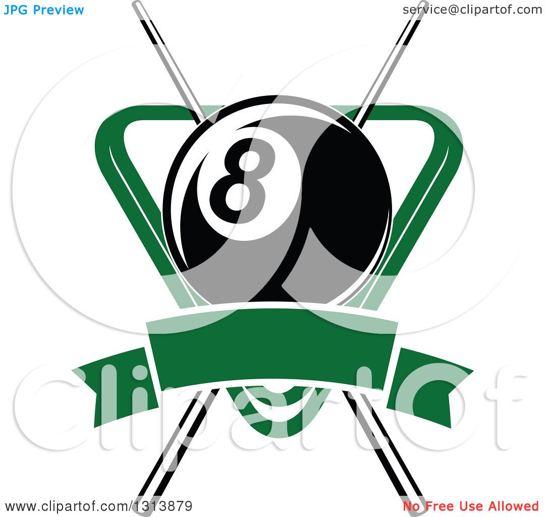 Clipart of a Billiard Eightball over Crossed Cue Sticks ...
