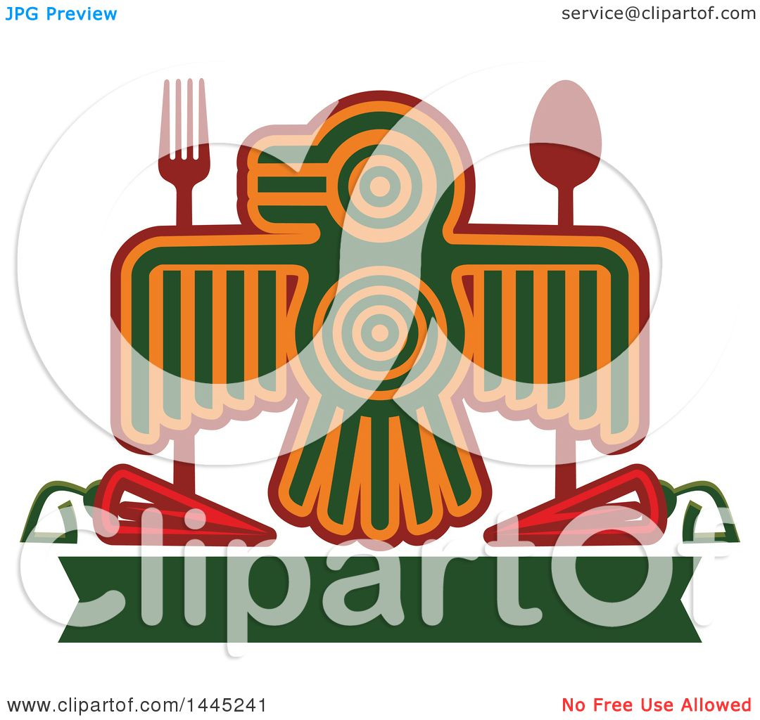 Clipart of a Bird in Aztec or Inca Totem Style, with a Fork, Spoon ...