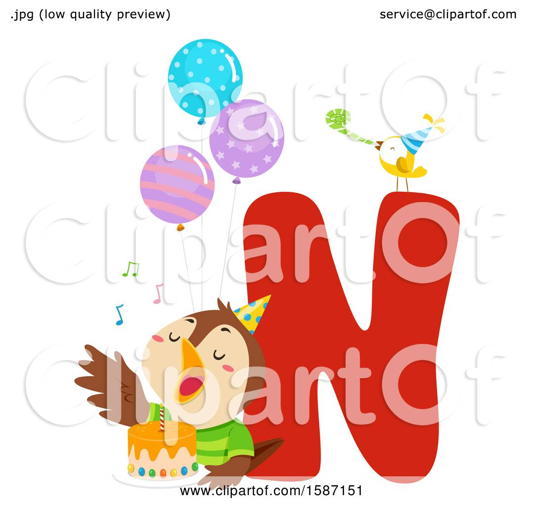 clipart of a birthday animal alphabet letter n with a nightingale
