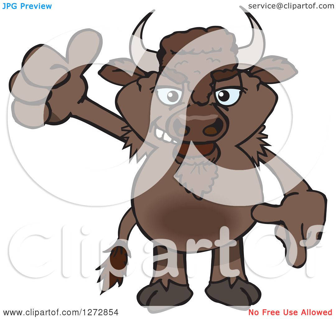 Clipart of a Bison Giving a Thumb up - Royalty Free Vector ...