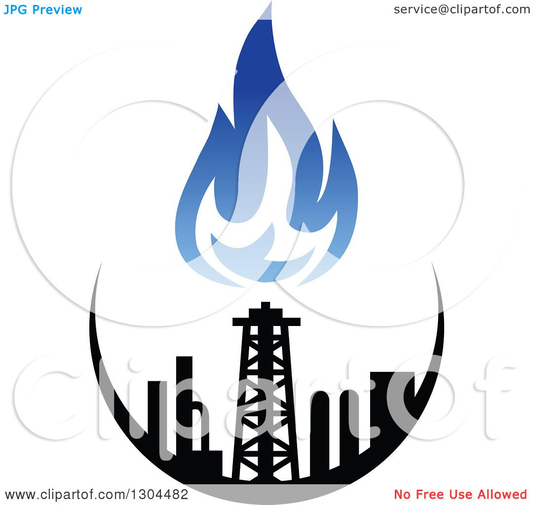 Clipart of a Black and Blue Natural Gas and Flame Design 3 ...
