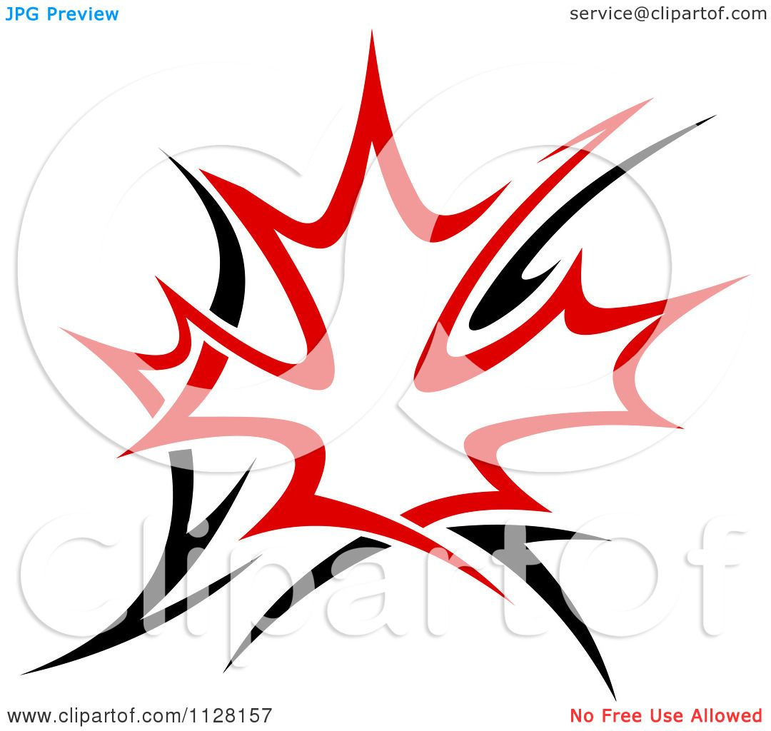 Clipart Of A Black And Red Tribal Maple Leaf 5 Royalty Free Vector