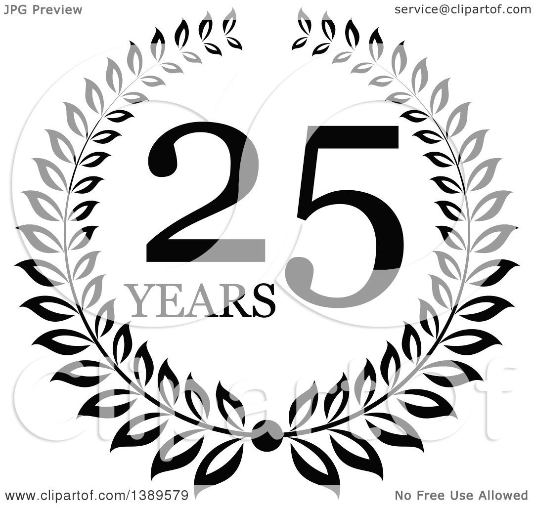 25 White Bathroom Ideas Design Pictures: Clipart Of A Black And White 25 Year Anniversary Wreath