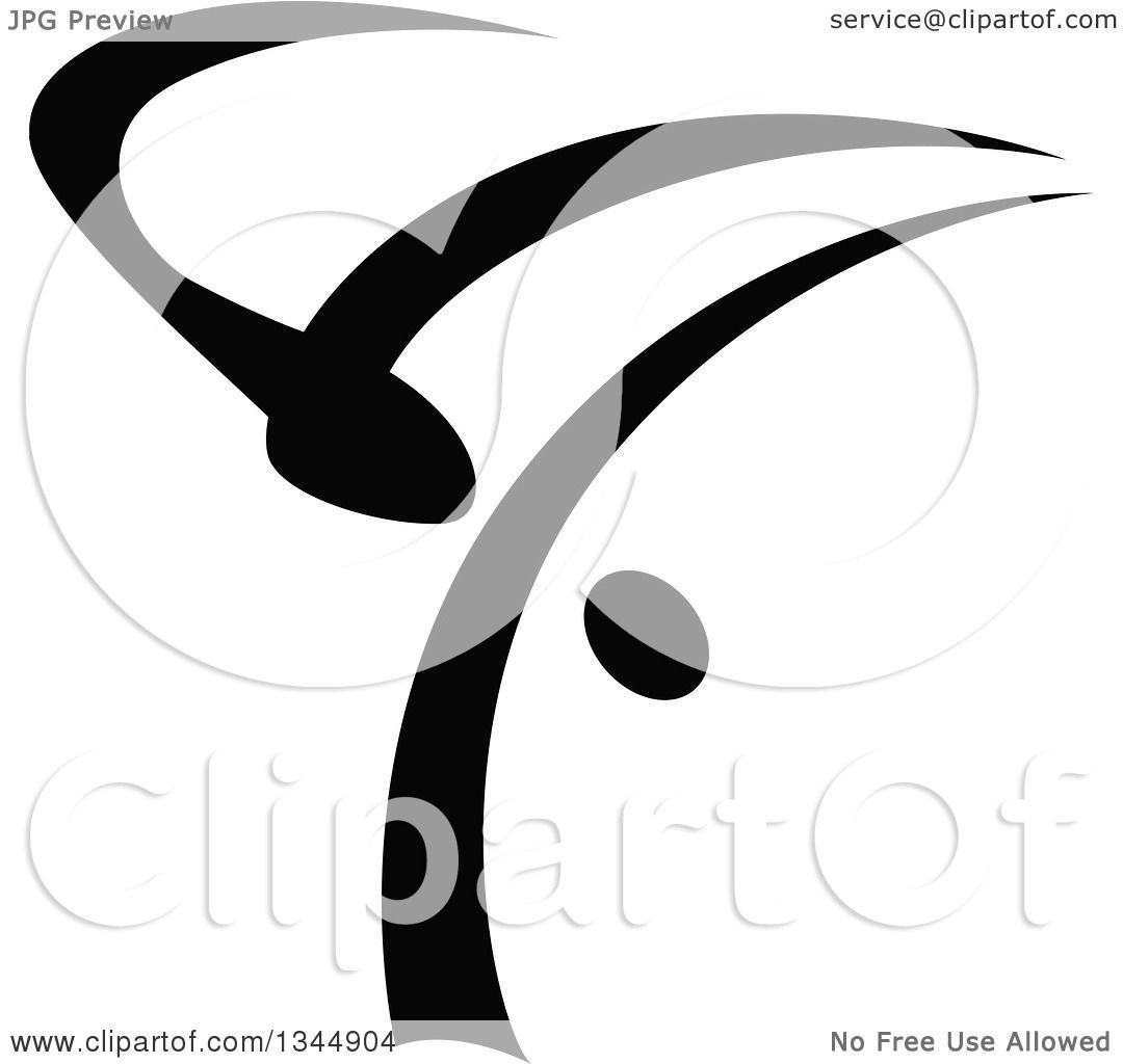 Clipart of a Black and White Abstract Hip Hop B Boy Dancer 2 ...