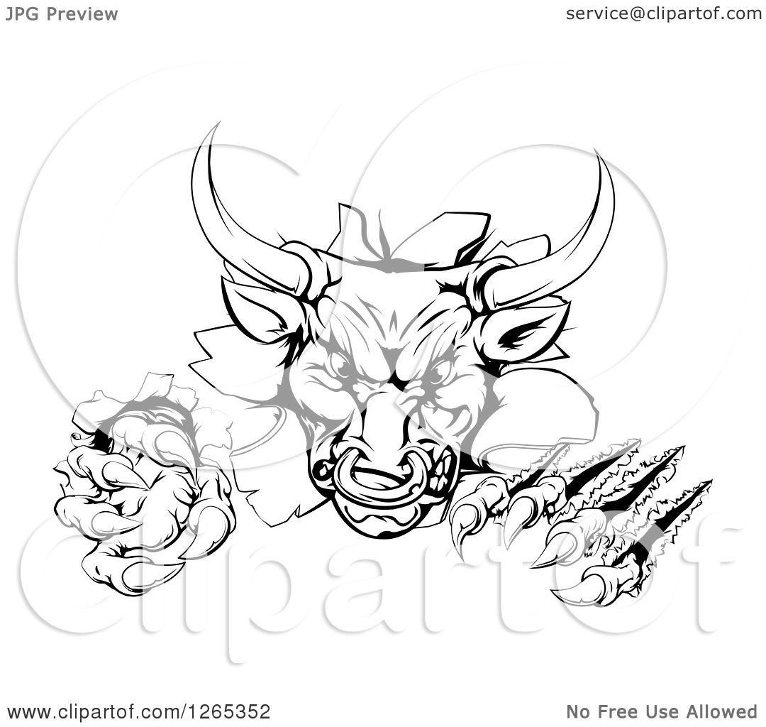 Clipart of a Black and White Aggressive Clawed Bull ...