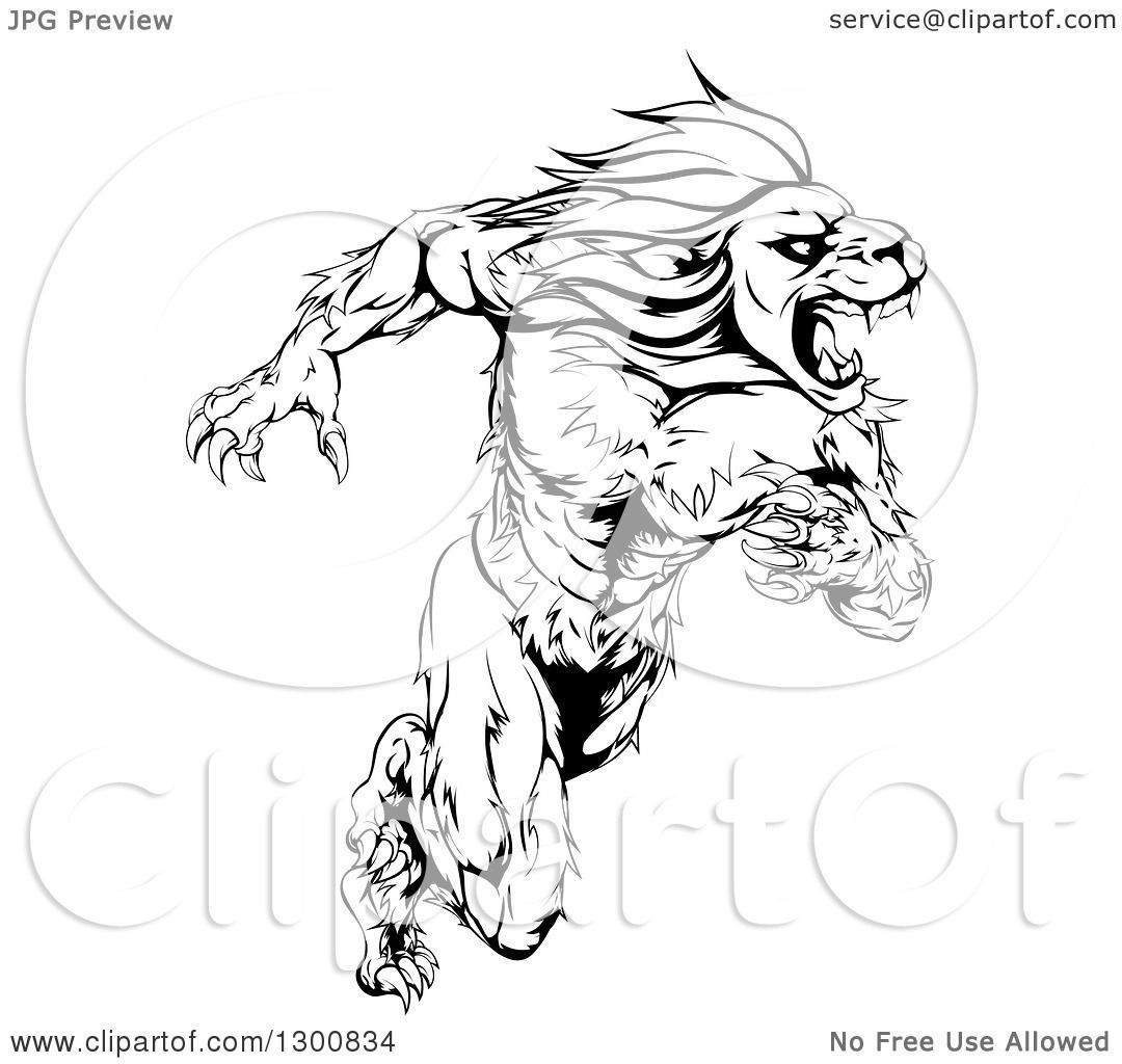 Clipart of a Black and White Aggressive Muscular Sprinting ...