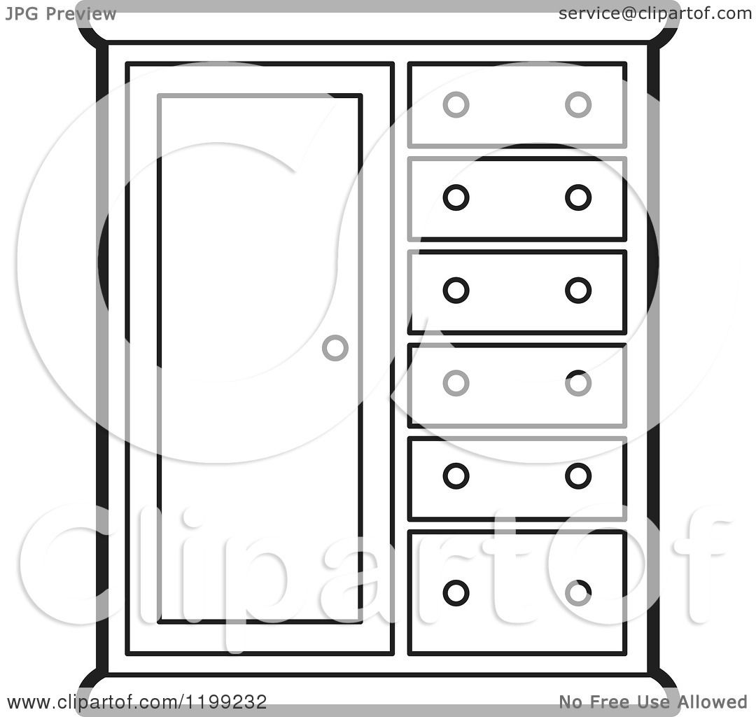 Kitchen Cabinet Clip Art: Clipart Of A Black And White Almira Cabinet