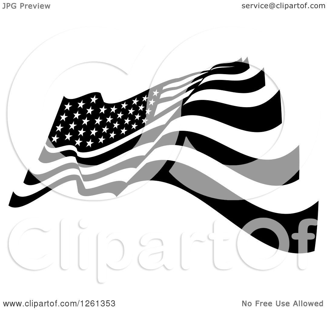 clipart of a black and white american flag royalty free