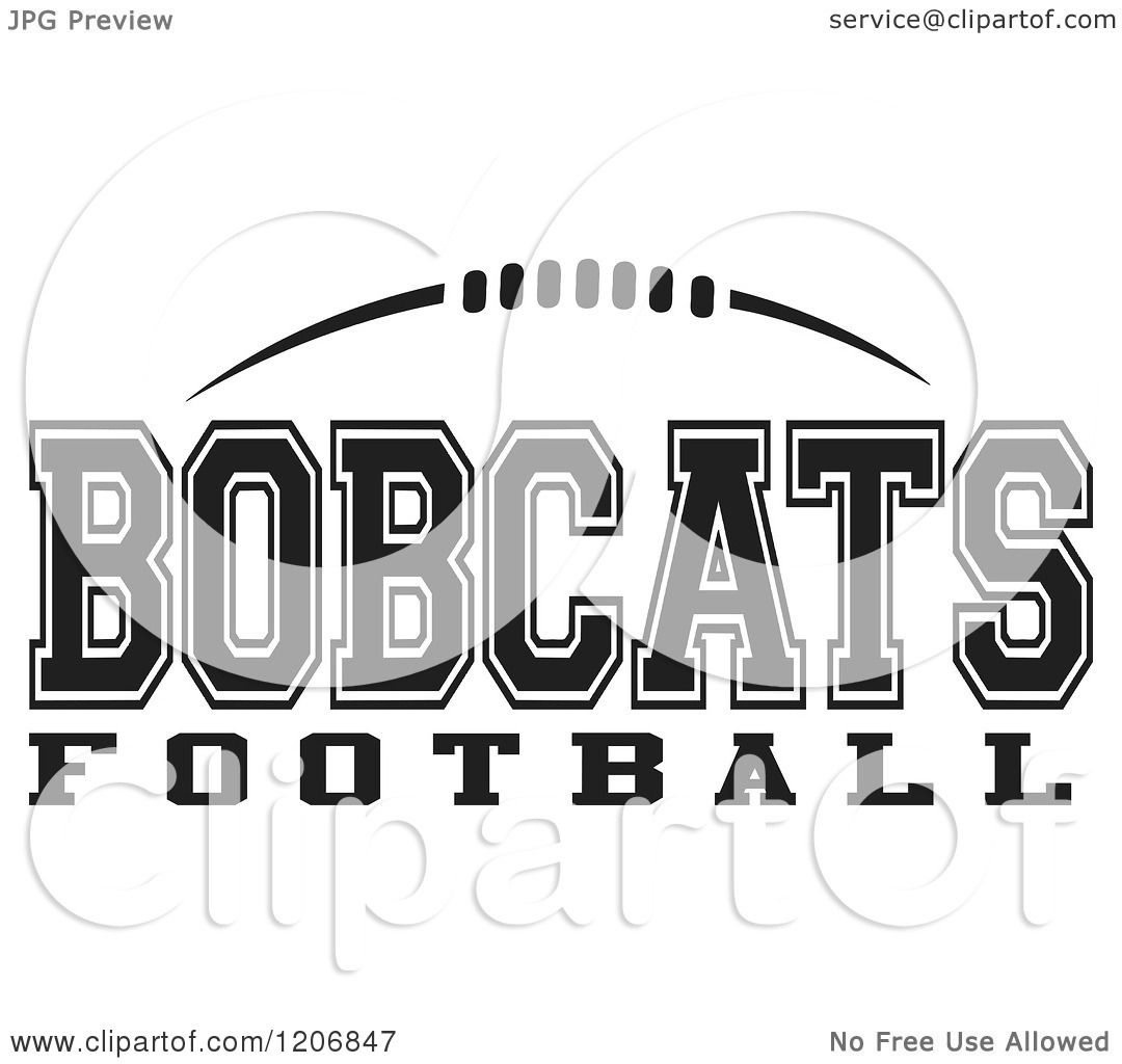 Clipart Of A Black And White American Football And Bobcats