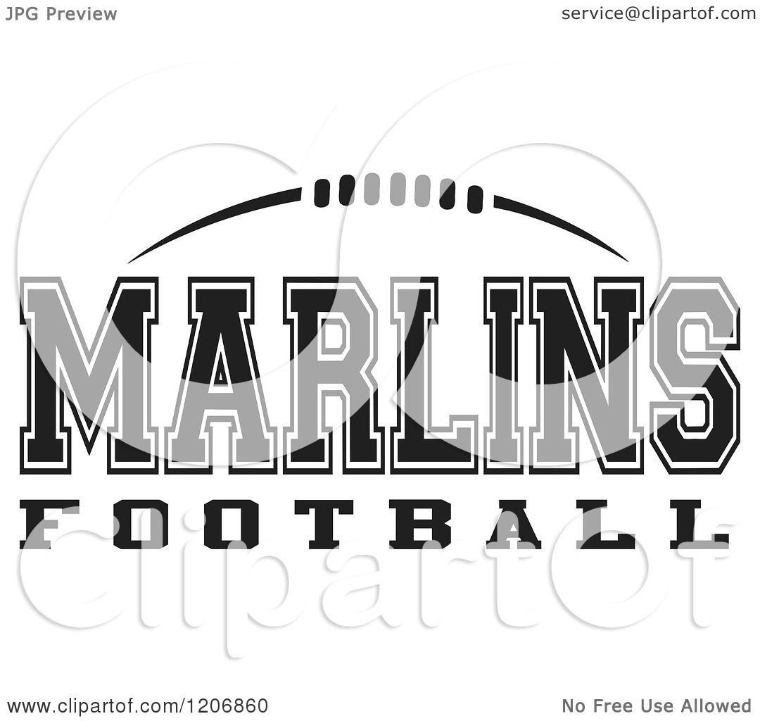 Clipart Of A Black And White American Football And Marlins