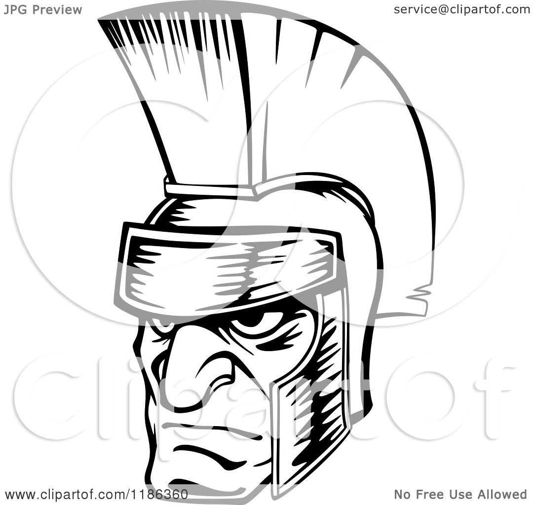 spartan warrior coloring pages - clipart of a black and white angry spartan warrior face