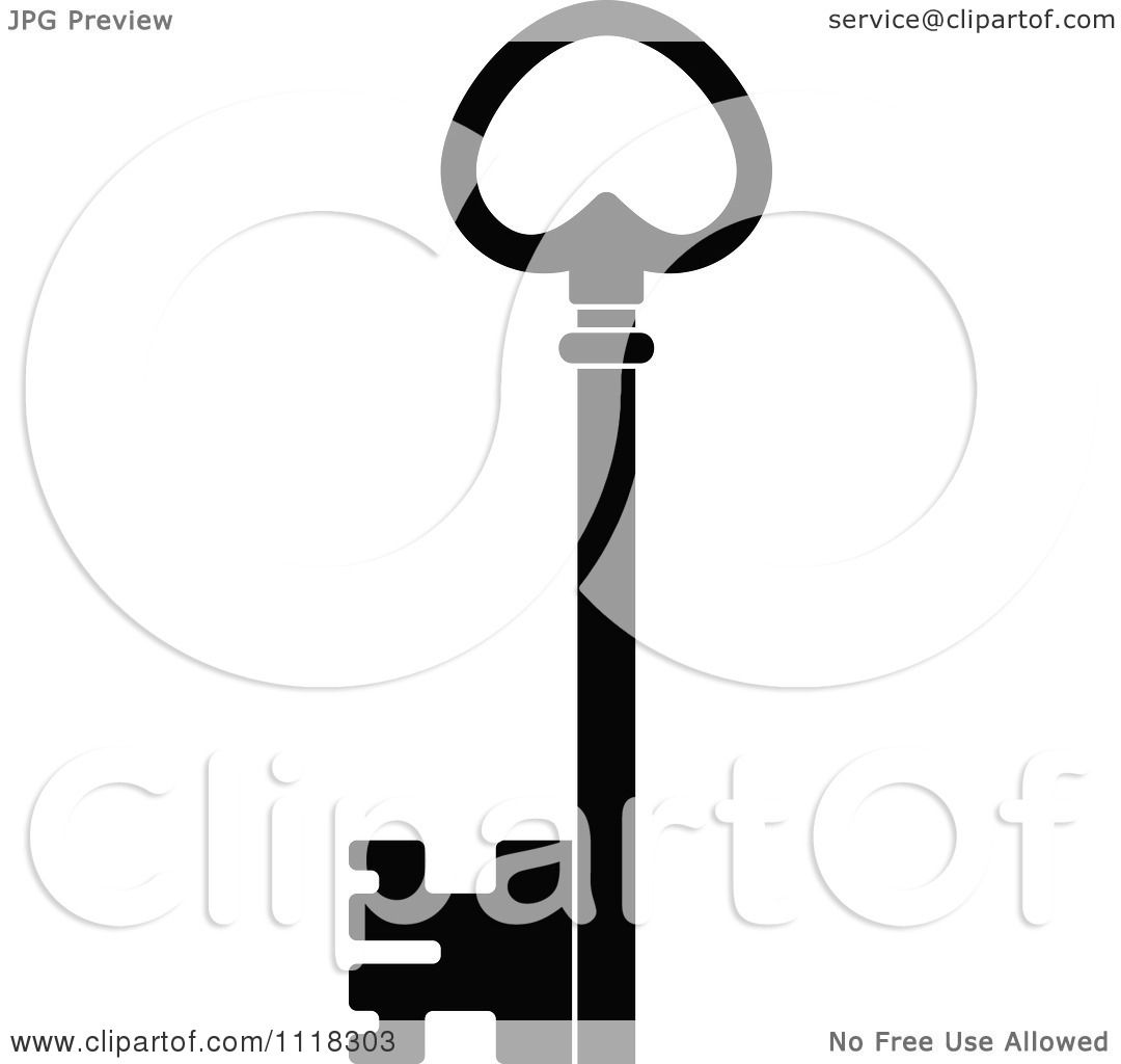 Vector Key Illustration: Clipart Of A Black And White Antique Skeleton Key 1