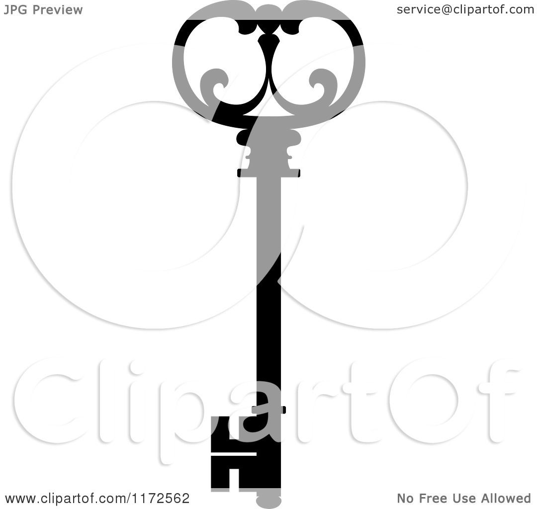 Clipart of a Black and White Antique Skeleton Key 12 - Royalty ...