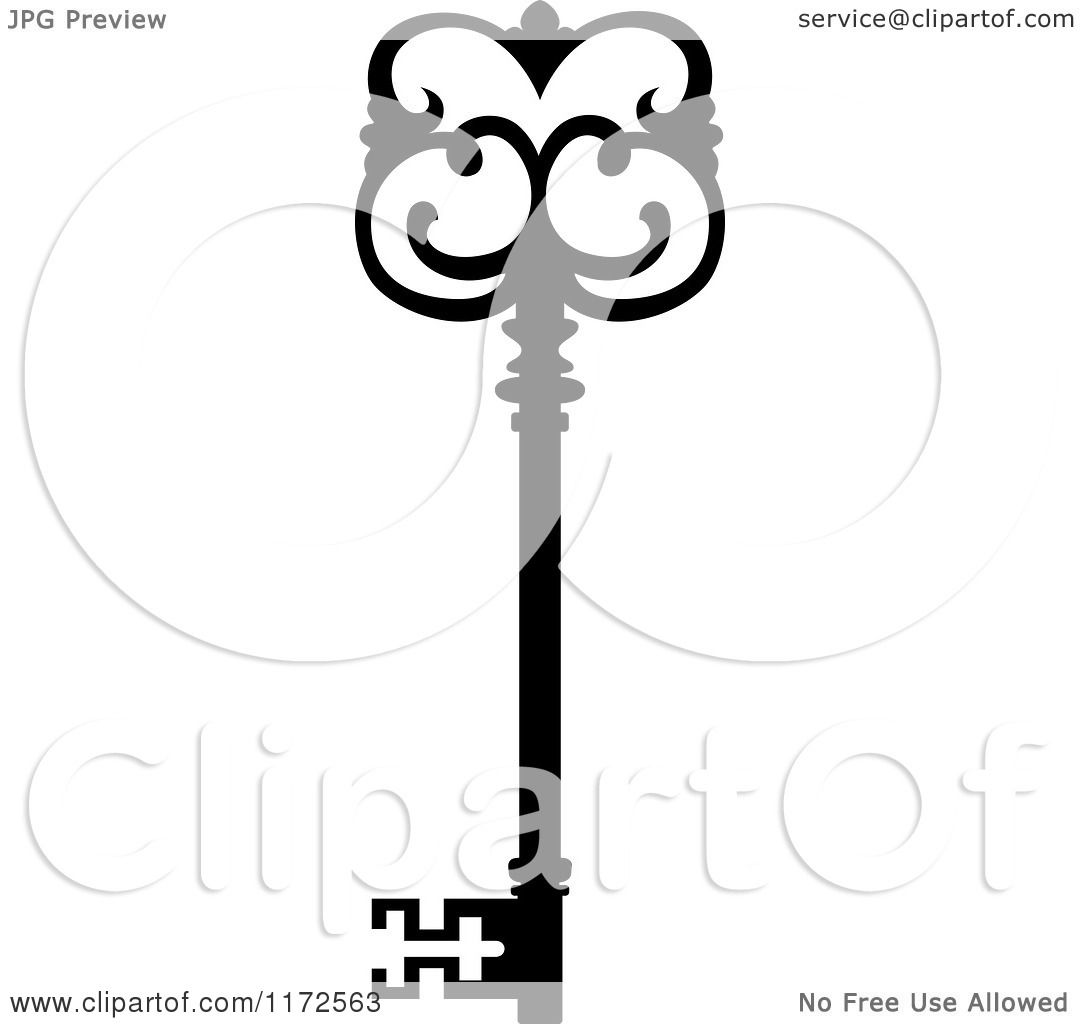 Vector Key Illustration: Clipart Of A Black And White Antique Skeleton Key 13