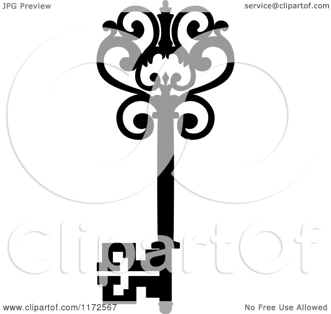 Clipart of a Black and White Antique Skeleton Key 17