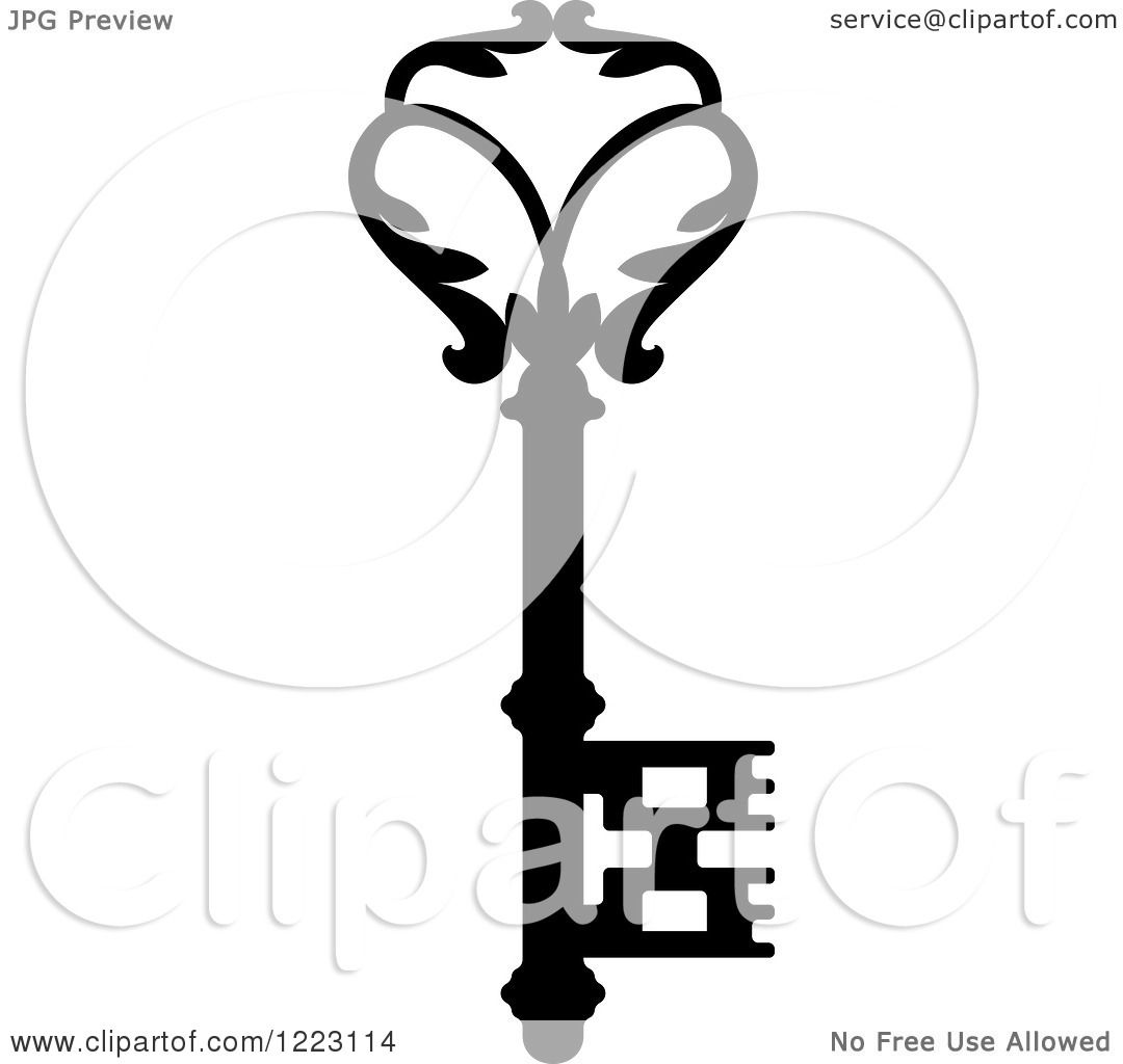 Vector Key Illustration: Clipart Of A Black And White Antique Skeleton Key 34