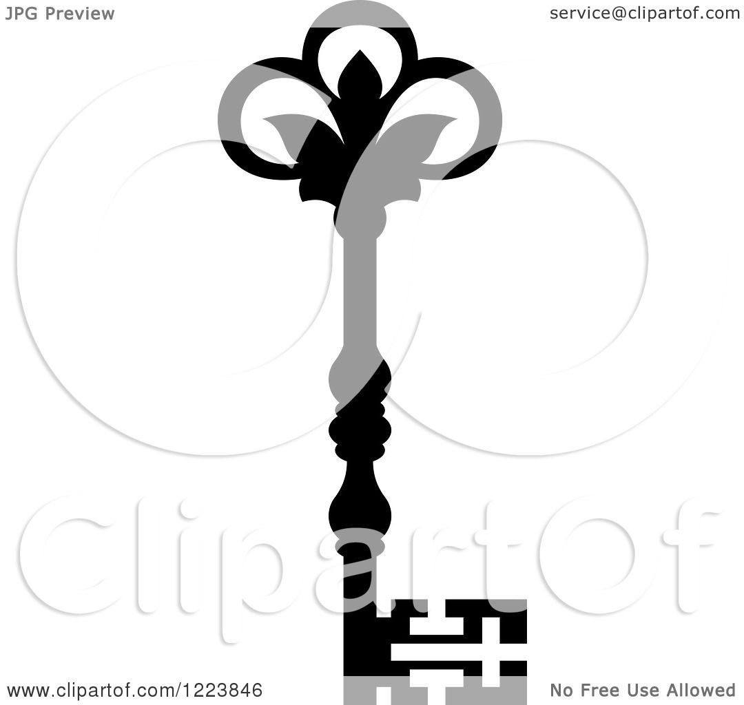 Vector Key Illustration: Clipart Of A Black And White Antique Skeleton Key 47
