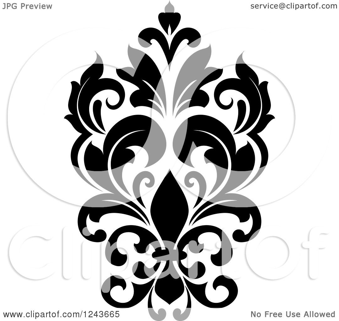 clipart of a black and white arabesque damask design 24 royalty
