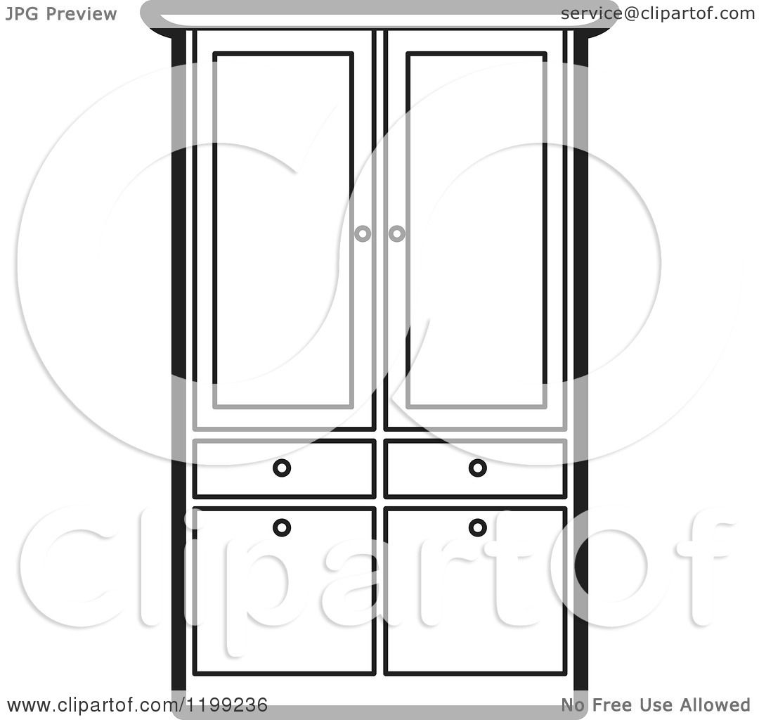 Wardrobe clipart black and white  Clipart of a Black and White Armoire Wardrobe - Royalty Free ...