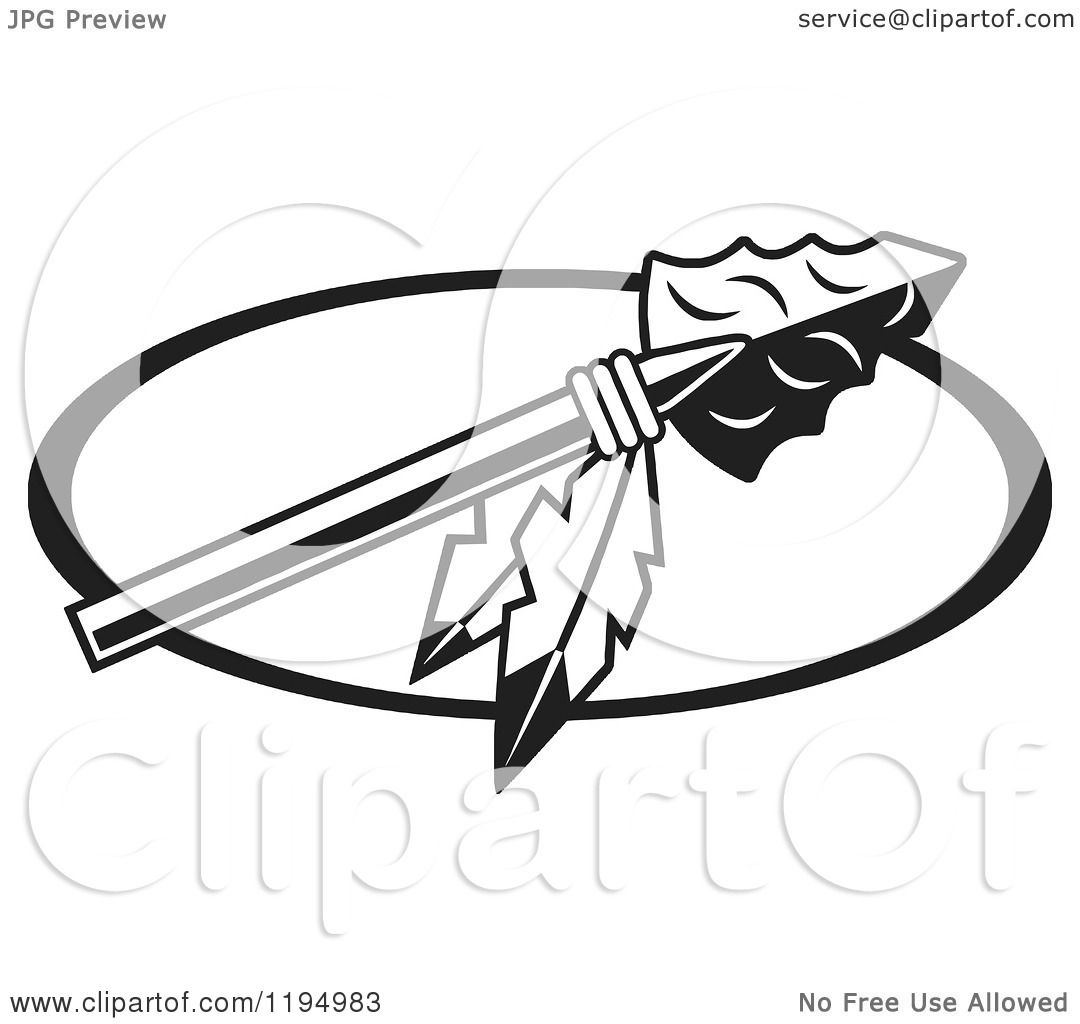 Clipart Of A Black And White Arrowhead With Feathers For Warriors
