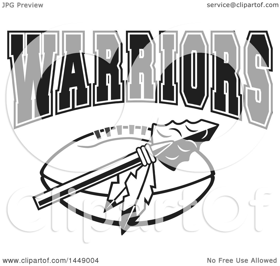 Clipart of a Black and White Arrowhead with Feathers over ...