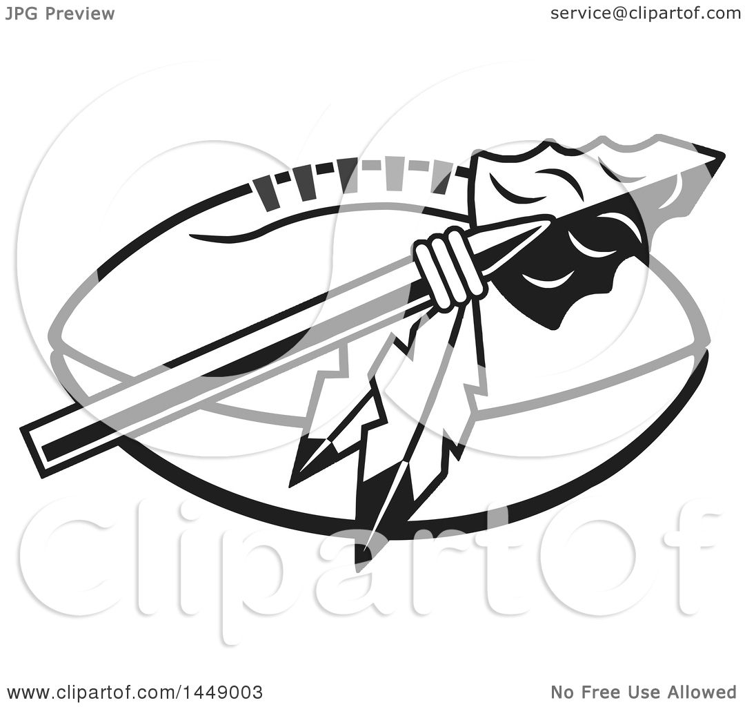 clipart of a black and white arrowhead with feathers over an rh clipartof com native american arrowhead clipart indian arrowhead clipart free
