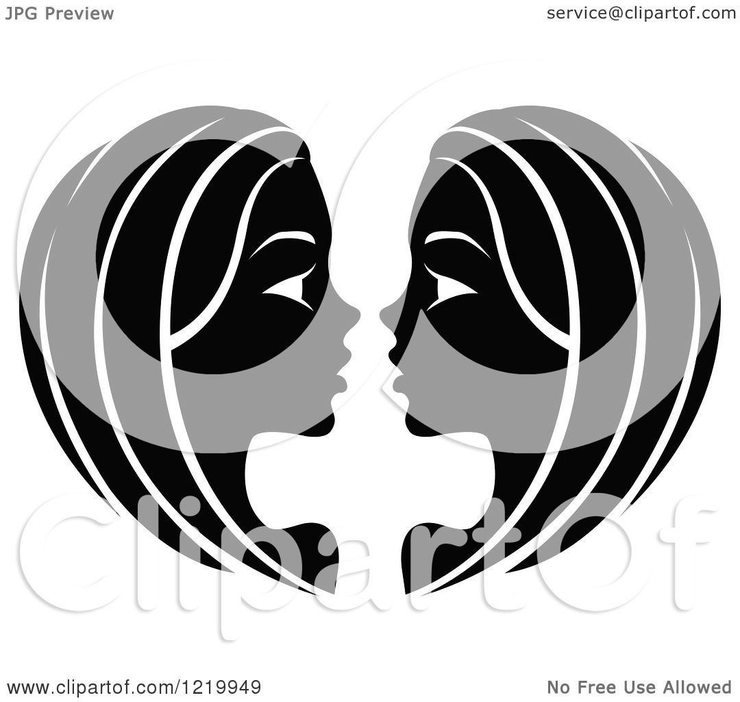 Clipart of a Black and White Astrology Gemini Twins Zodiac ...