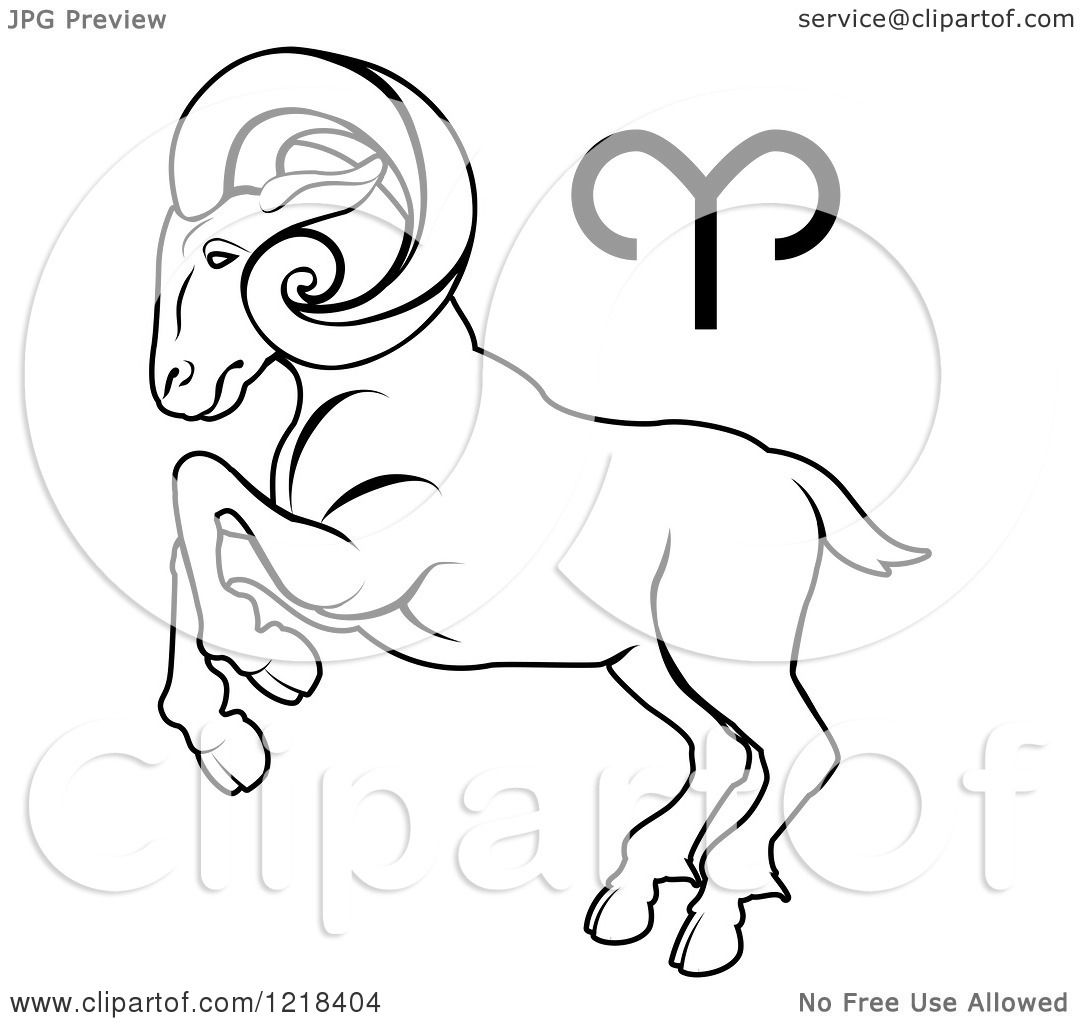 Clipart Of A Black And White Astrology Zodiac Aries Ram And Symbol